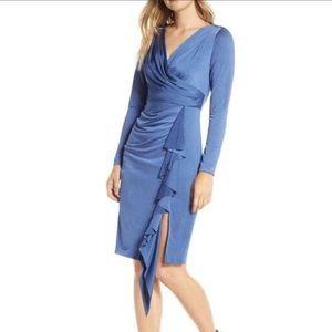 NWT Eliza J Long Sleeve Faux Wrap Knit Dress